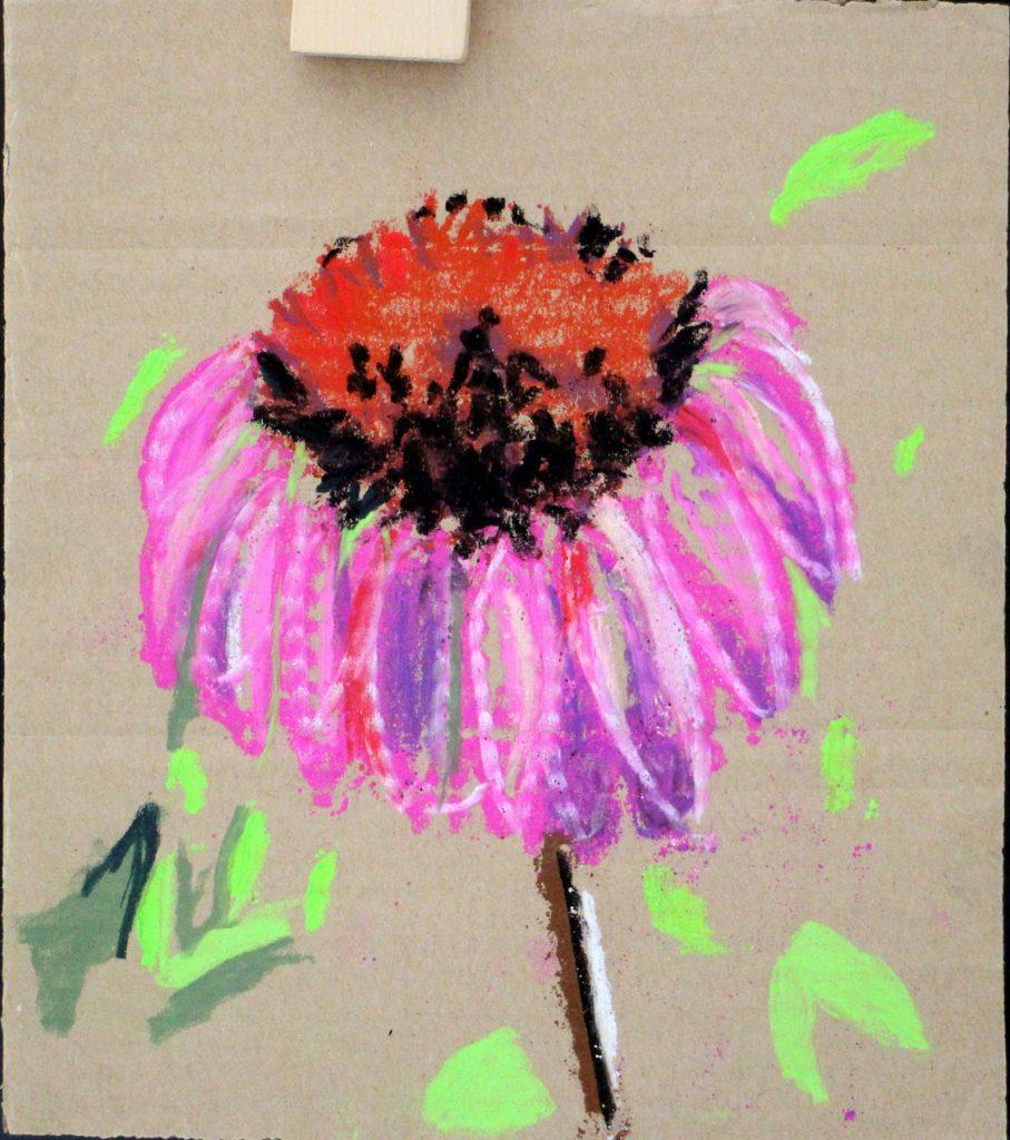 travaux d'atelier, fleur, pastel