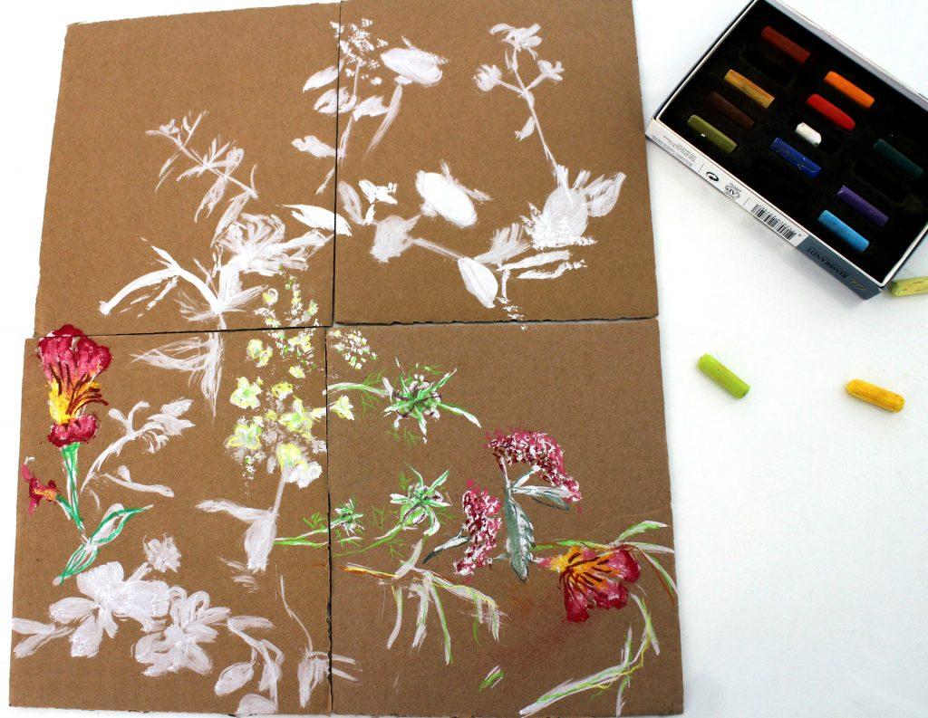 travaux d'atelier, fleurs, pastel